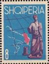 Colnect-1381-859-%E2%80%ADMap-of-Adriatic-Sea-and-Albania-and-Roman-statue.jpg